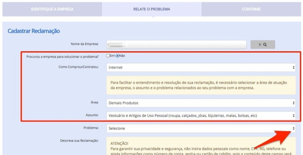 Configurações iniciais de uma reclamação sobre produto da Black Friday no site Consumidor.gov.br — Foto: Reprodução/Marvin Costa