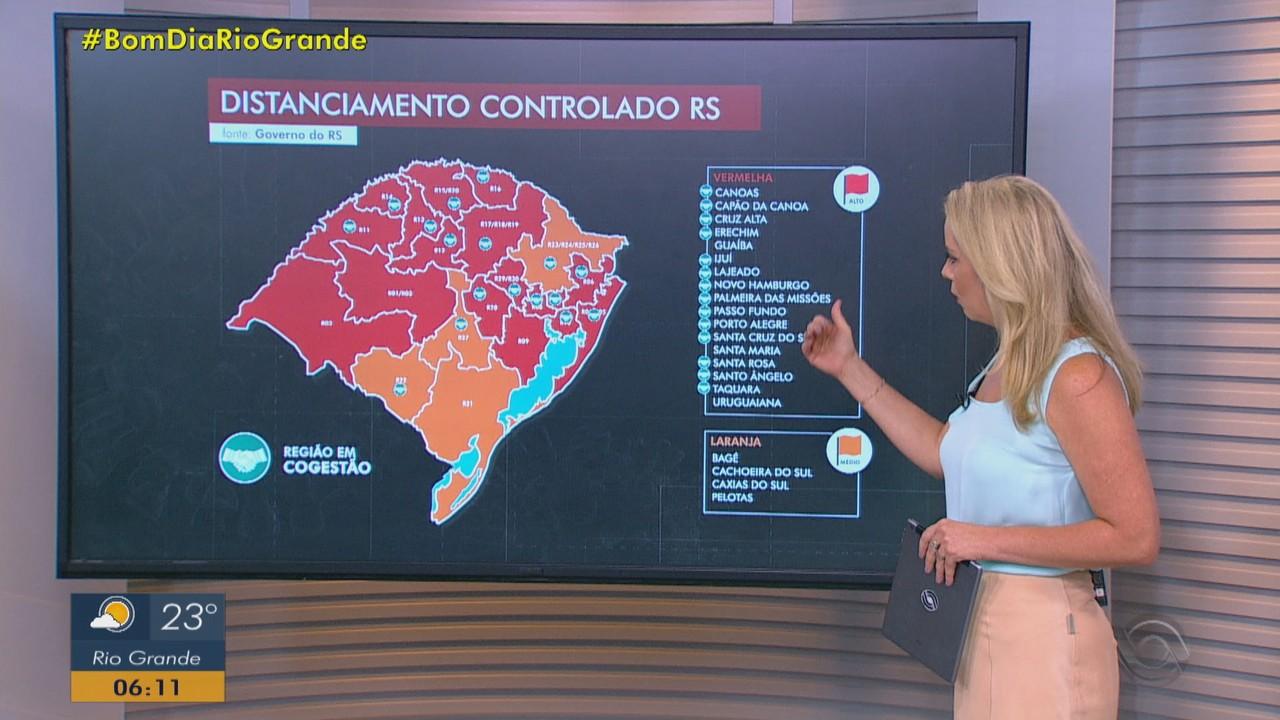 Mapa do distanciamento controlado tem 17 regiões do RS em bandeira vermelha