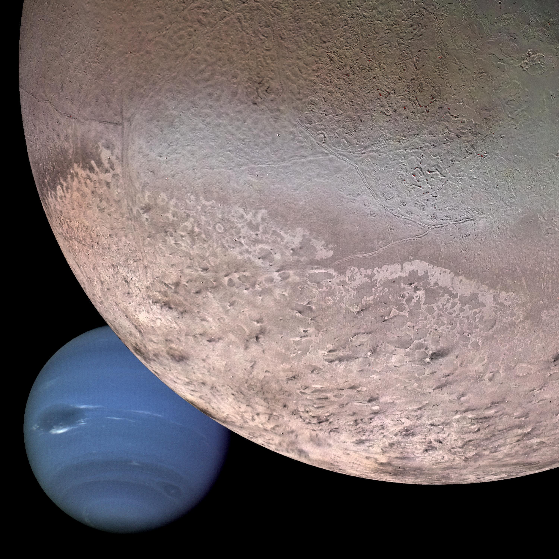 Montagem do planeta azul ao lado de sua maior lua, Triton (Foto: NASA)