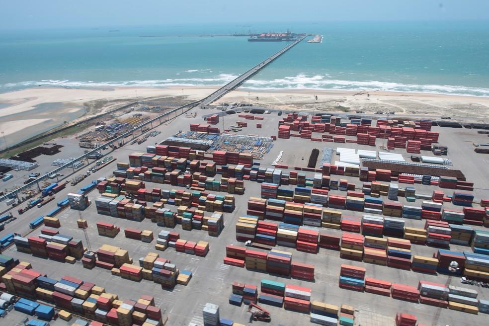 Porto do Pecém, no litoral cearense — Foto: Governo do Estado/Divulgação