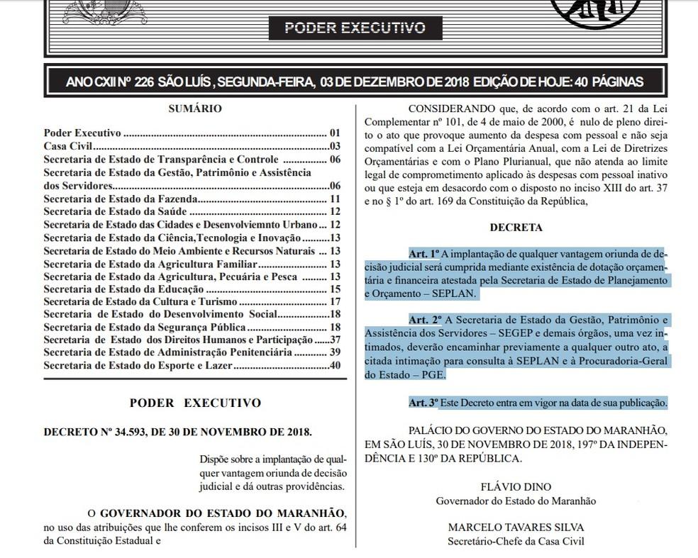 Decreto Nº 34.593 de 30 de novembro de 2018 passou a valer nesta segunda-feira (3) — Foto: Diário Oficial da União