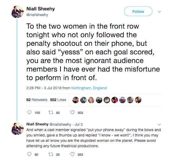 O lamento do ator Niall Sheehy sobre as espectadoras assistindo à partida da Inglaterra na Copa durante o musical Titanic (Foto: Twitter)