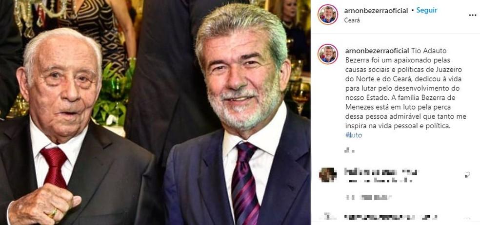 Arnon Bezerra lamentou a morte do tio, Adauto Bezerra, vítima de Covid-19 — Foto: Reprodução/Instagram
