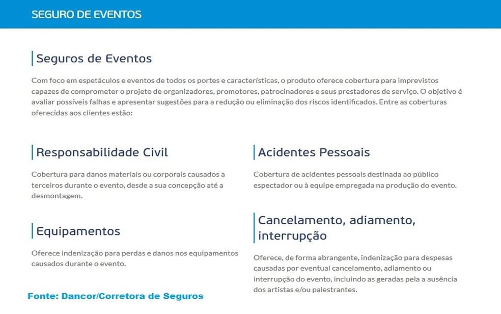 Tabela sobre benefícios ofertados pelo Seguro de Eventos de algumas corretoras (Foto: Repdrodução/Dancor/Corretora de Seguros)