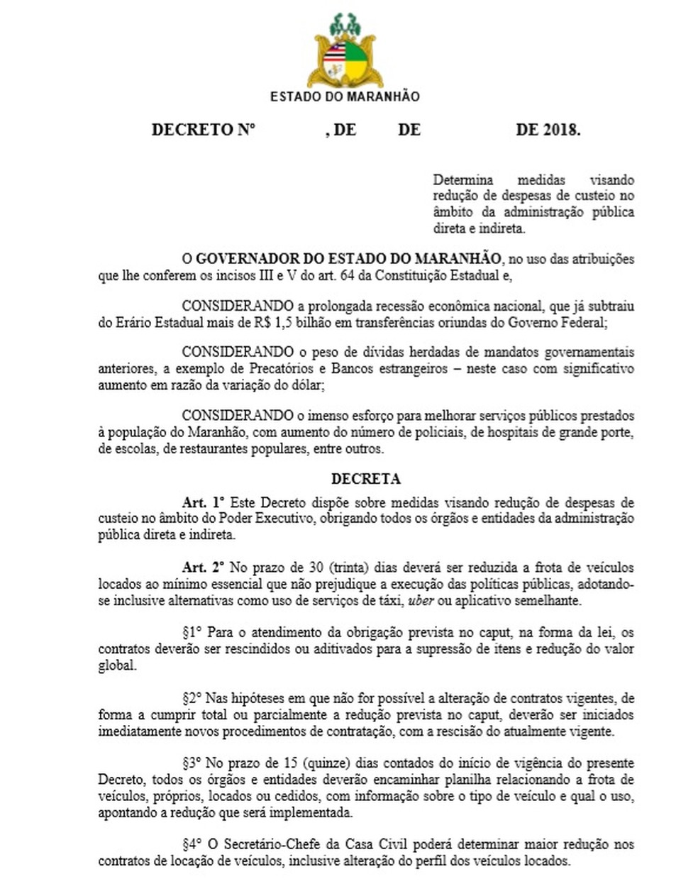 Página 1 do decreto do governo do Maranhão sobre corte de gastos — Foto: Reprodução