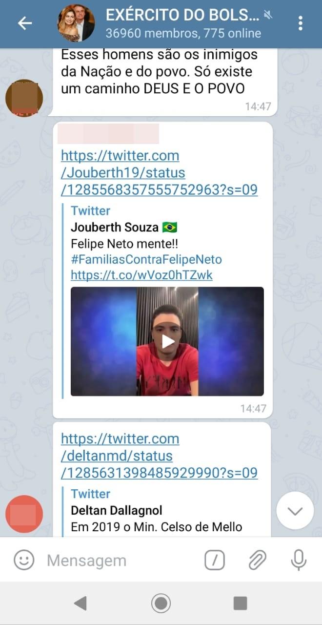 Mensagem sobre Felipe Neto circula em grupo bolsonarista no Telegram