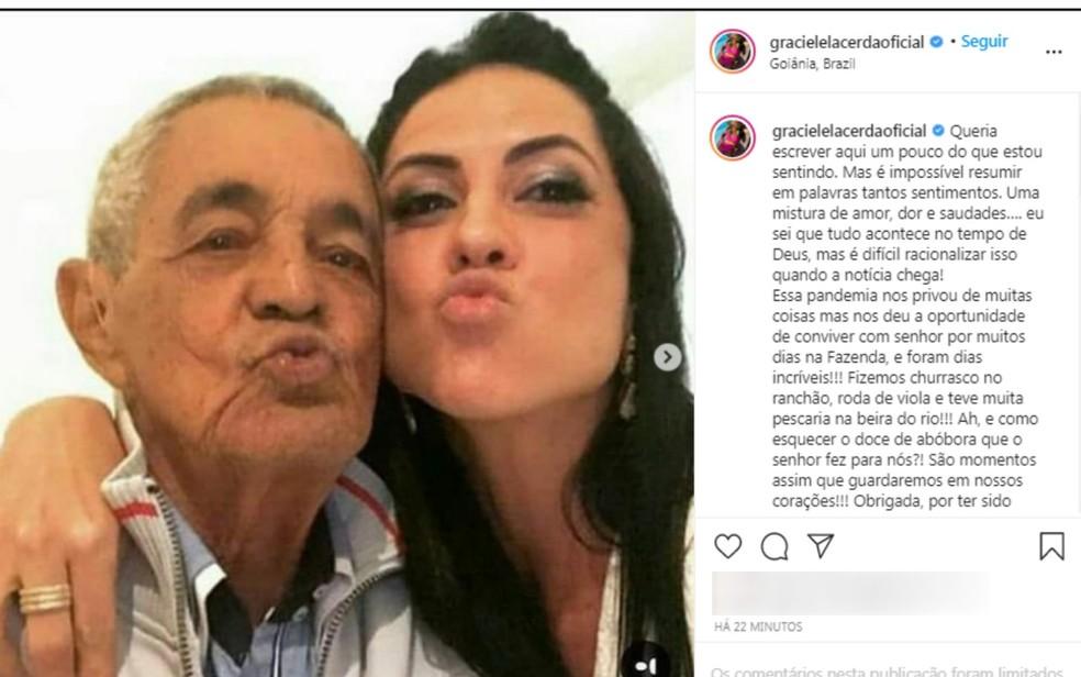 Esposa de Zexé di Camargo lamenta a morte do sogro, em Goiás — Foto: Reprodução Instagram