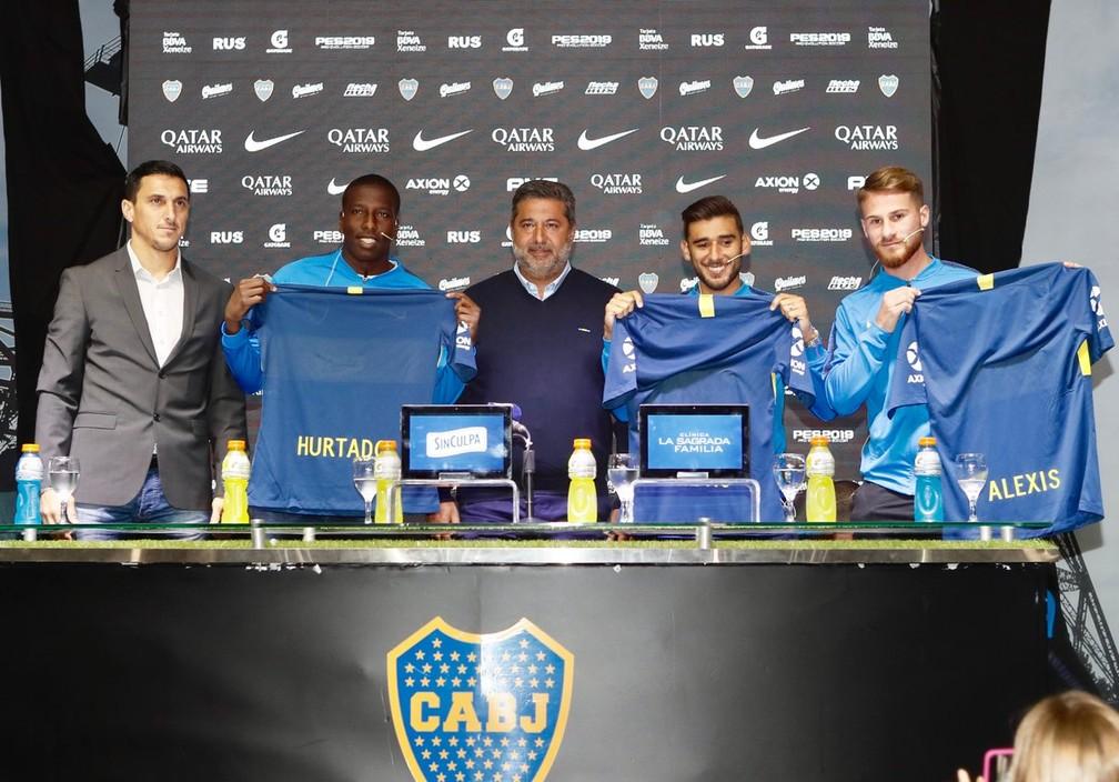 Hurtado, Salvio e Allister: reforços apresentados pelo Boca Juniors — Foto: Divulgação / Boca Juniors