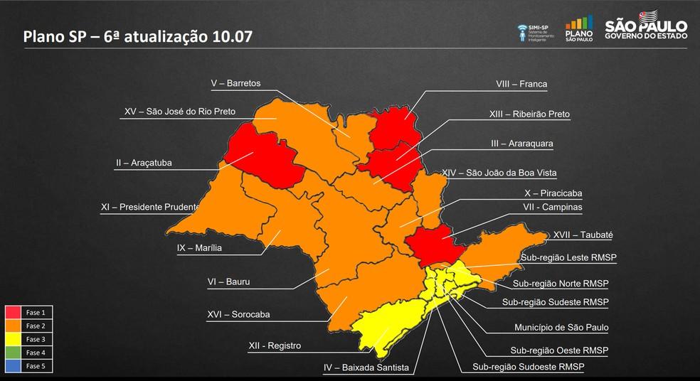 Sexta atualização do Plano São Paulo foi divulgada nesta sexta-feira (10) e todos os 56 municípios do Oeste Paulista, vinculados aos DRSs de Presidente Prudente e de Marília, deixaram a fase vermelha e passaram para a fase laranja — Foto: Reprodução