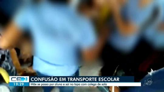 Mãe entra em transporte escolar fardada e incentiva briga de filha com outra aluna no Ceará