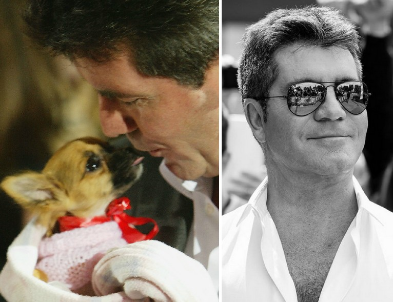 O apresentador e produtor Simon Cowell com um cãozinho no colo (Foto: Getty Images/Instagram)