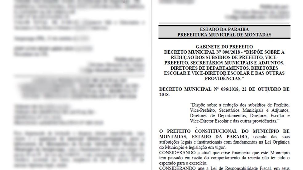 Decreto reduziu remunerações dos gestores municipais paraibanos diante da crise do município — Foto: Reprodução/Diário Oficial dos Municípios da Paraíba