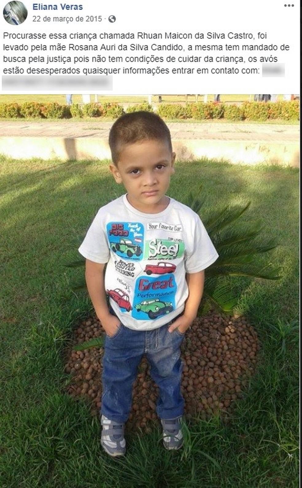 O pequeno Rhuan foi morto e esquartejado — Foto: Arquivo da família
