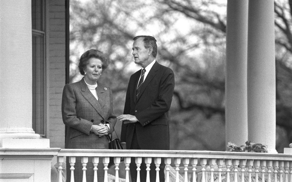 George H. Bush recebe Margaret Thatcher em Washington em novembro de 1988. — Foto: Paul Hosefros/The New York Times