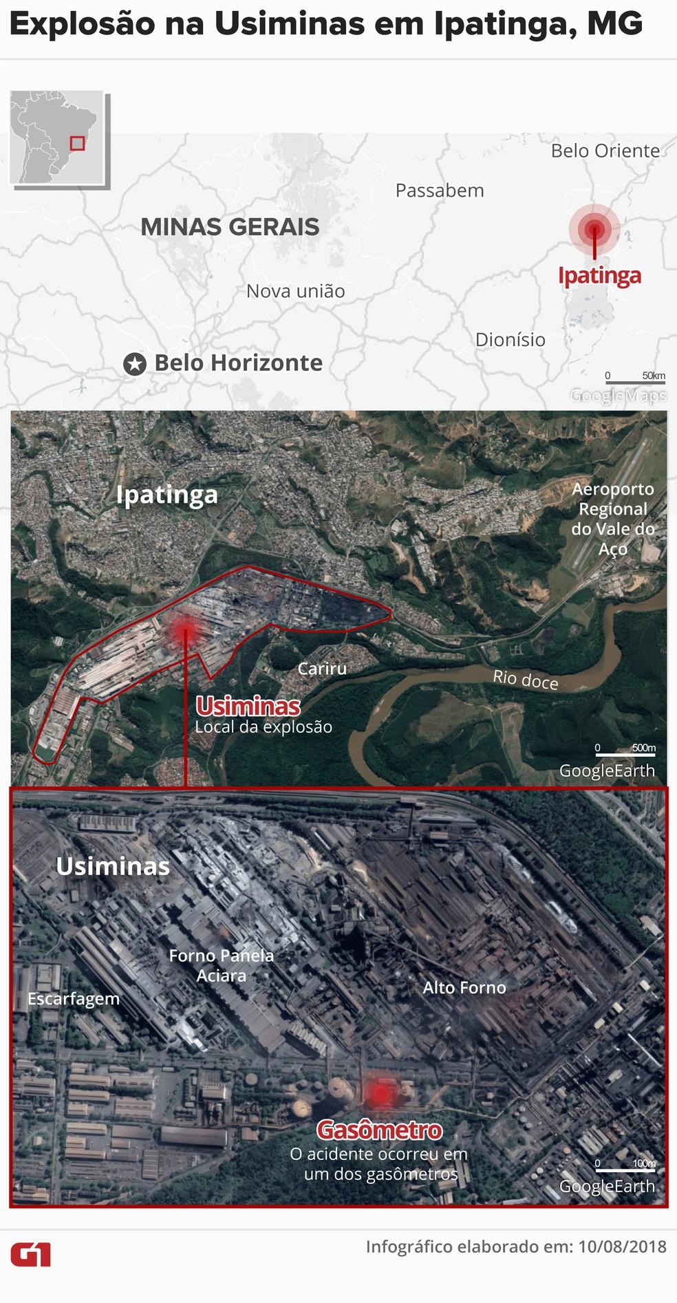 Explosão na Usiminas deixa feridos em Ipatinga (Foto: Infográfico: Juliane Monteiro/G1)