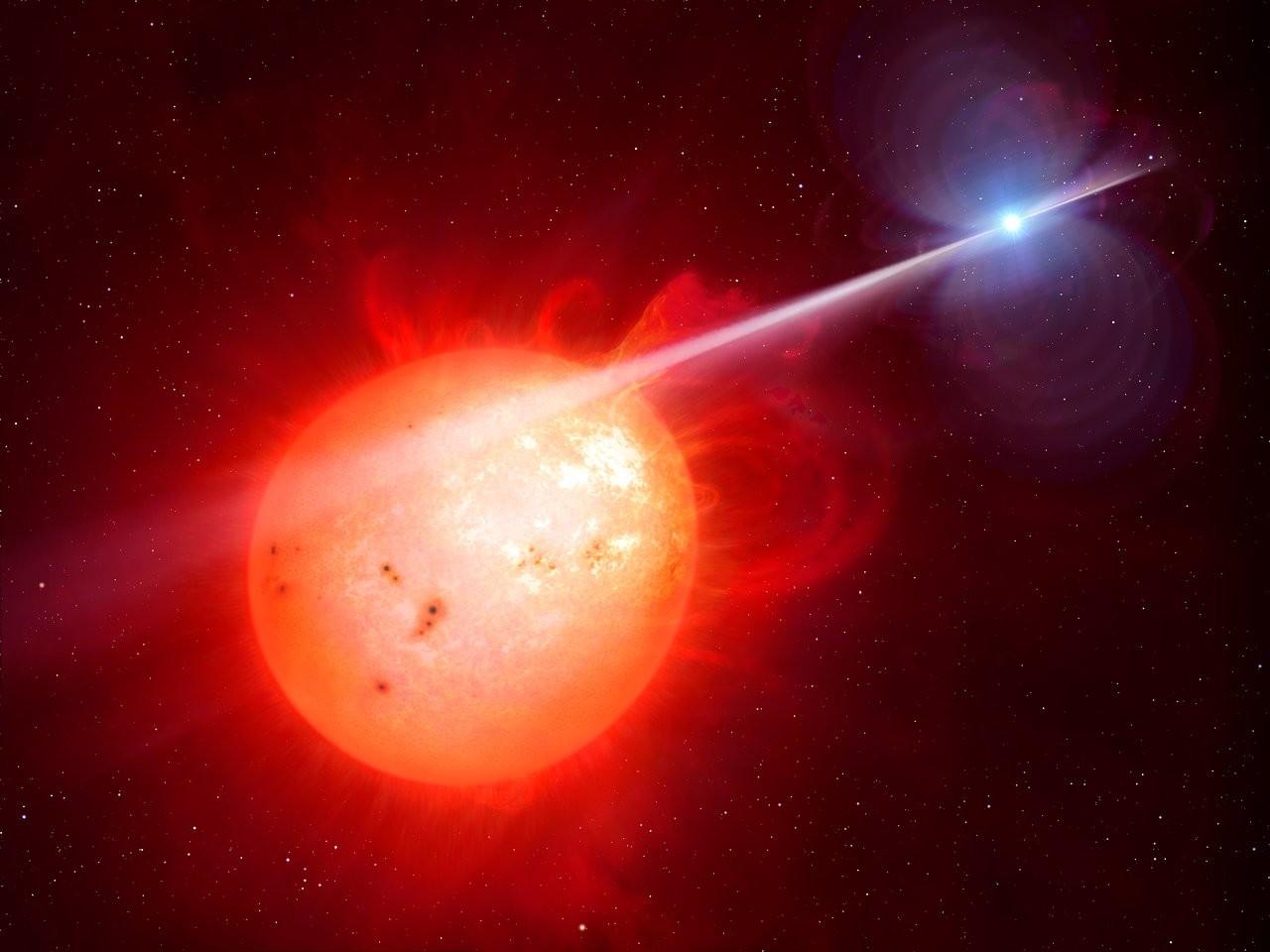 Concepção artística de um sistema estelar binário. (Foto: M. Garlick/University of Warwick/ESO)