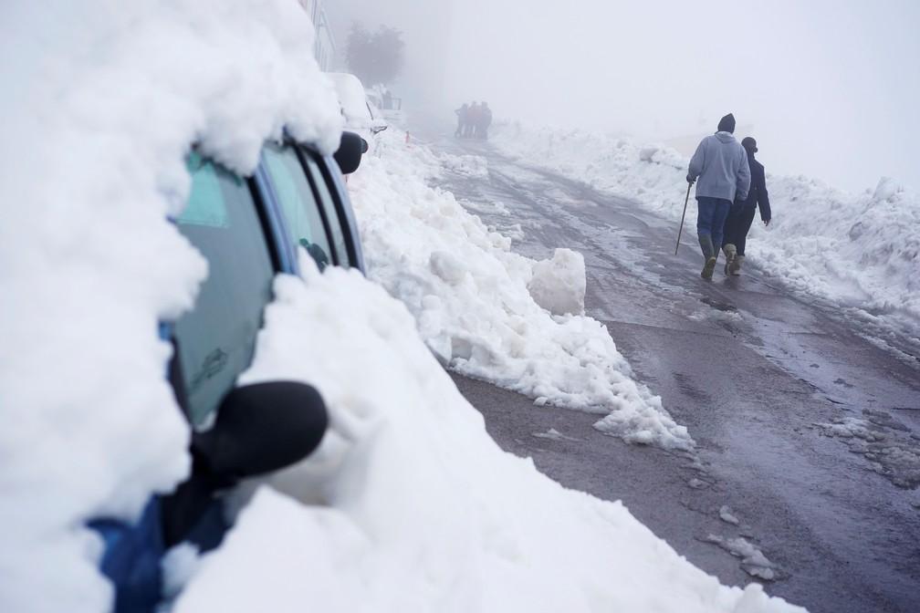 Tempestade Gloria levou nevasca à cidade de Morella, na Espanha, onde a neve cobriu carros — Foto: Juan Medina/Reuters