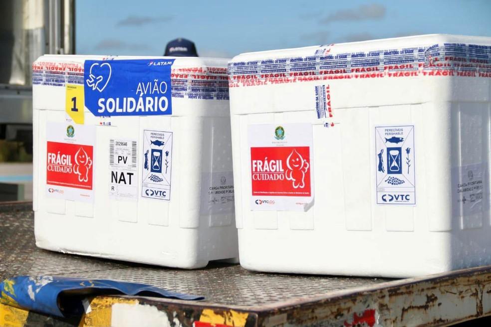 RN recebe mais 74.600 doses de CoronaVac — Foto: Sandro Menezes/Assecom/Governo do RN