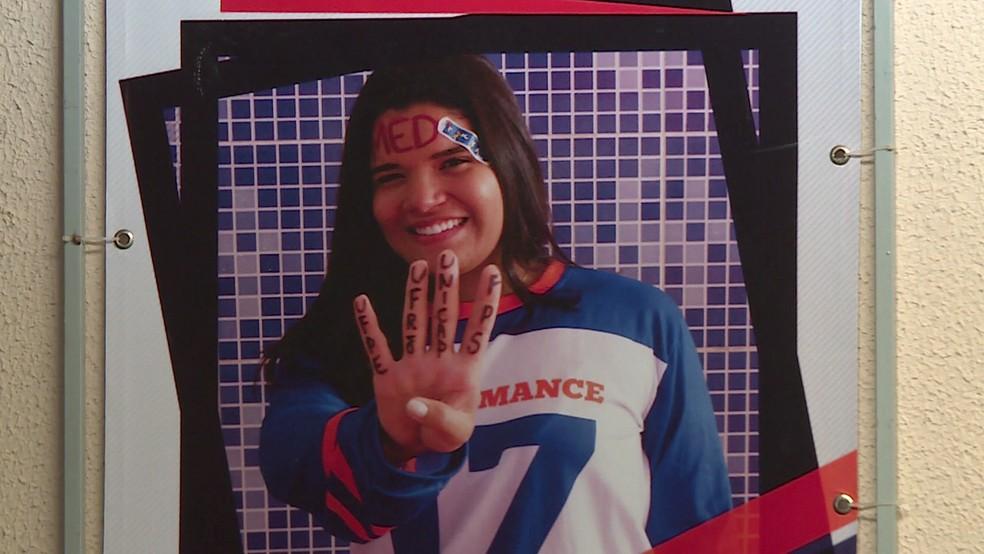 Larryssa passou em quatro faculdades de medicina e saiu do Grande Recife para os Estados Unidos — Foto: Reprodução/TV Globo