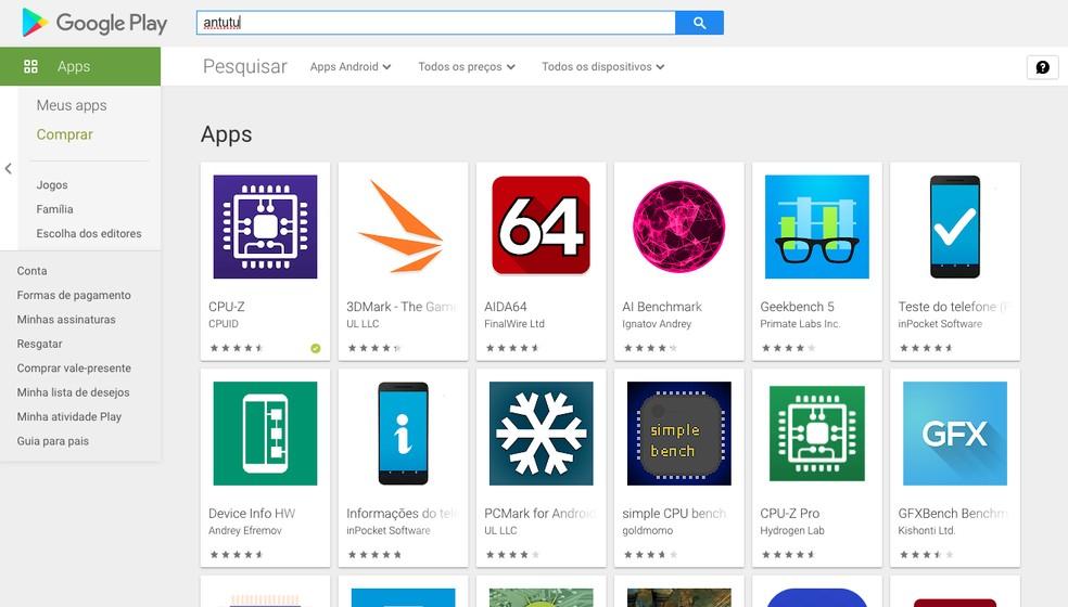 """Busca por """"AnTuTu"""" na Google Play Store não exibe nenhum app da empresa — Foto: Reprodução/Google Play Store"""