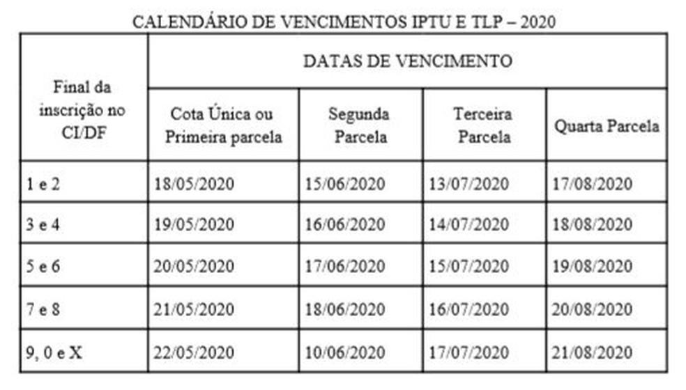 Datas de pagamento do IPTU no DF — Foto: SEEC/Reprodução