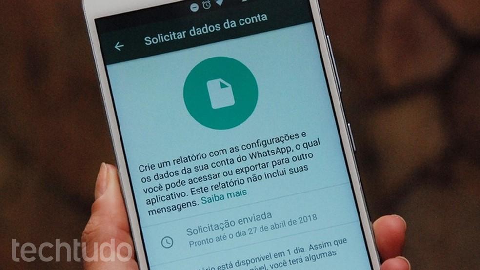 WhatsApp começa a liberar ferramenta para solicitar dados (Foto: Raquel Freire/TechTudo)
