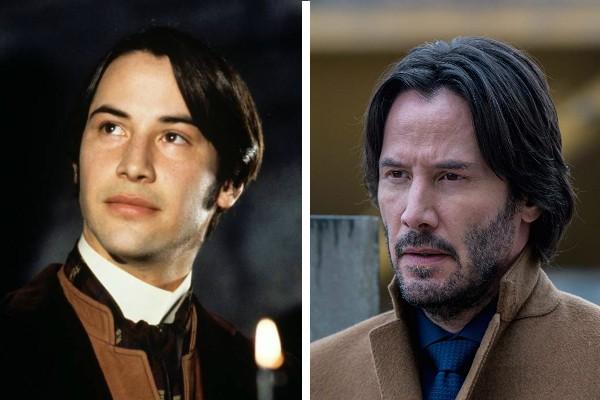 Keanu Reeves em Drácula de Bram Stocker (1992) e em Siberia (2018) (Foto: Divulgação)
