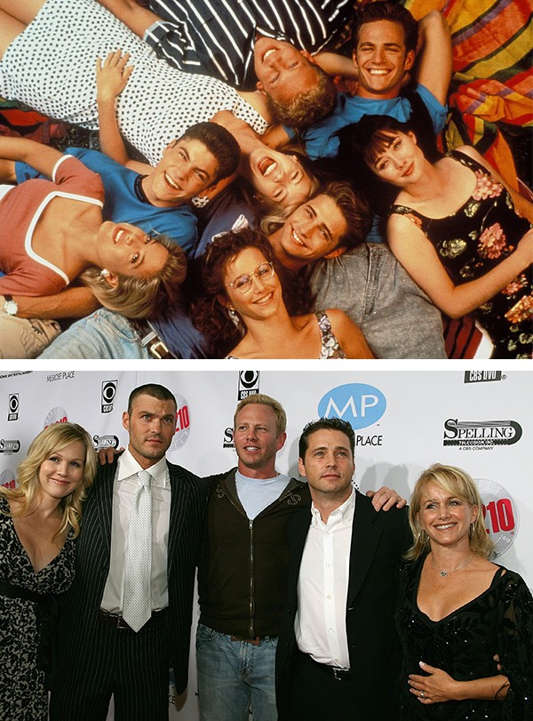 Na foto de baixo, Jennie Garth, Brian Austin Green, Ian Ziering, Jason Priestley e Gabrielle Carteris (Foto: Reprodução / Getty Images)