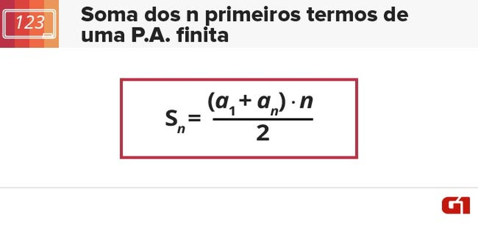 Soma dos primeiros termos de uma PA finita (Foto: Arte/G1)
