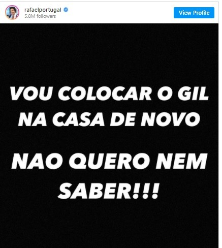 Postagem de Rafael Portugal (Foto: Reprodução/ Instagram)