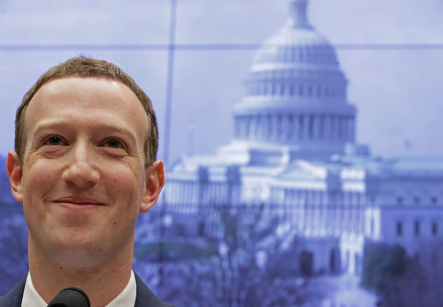 Mark Zuckerberg, CEO do Facebook, no Senado dos EUA (Foto: Chip Somodevilla/Getty Images)