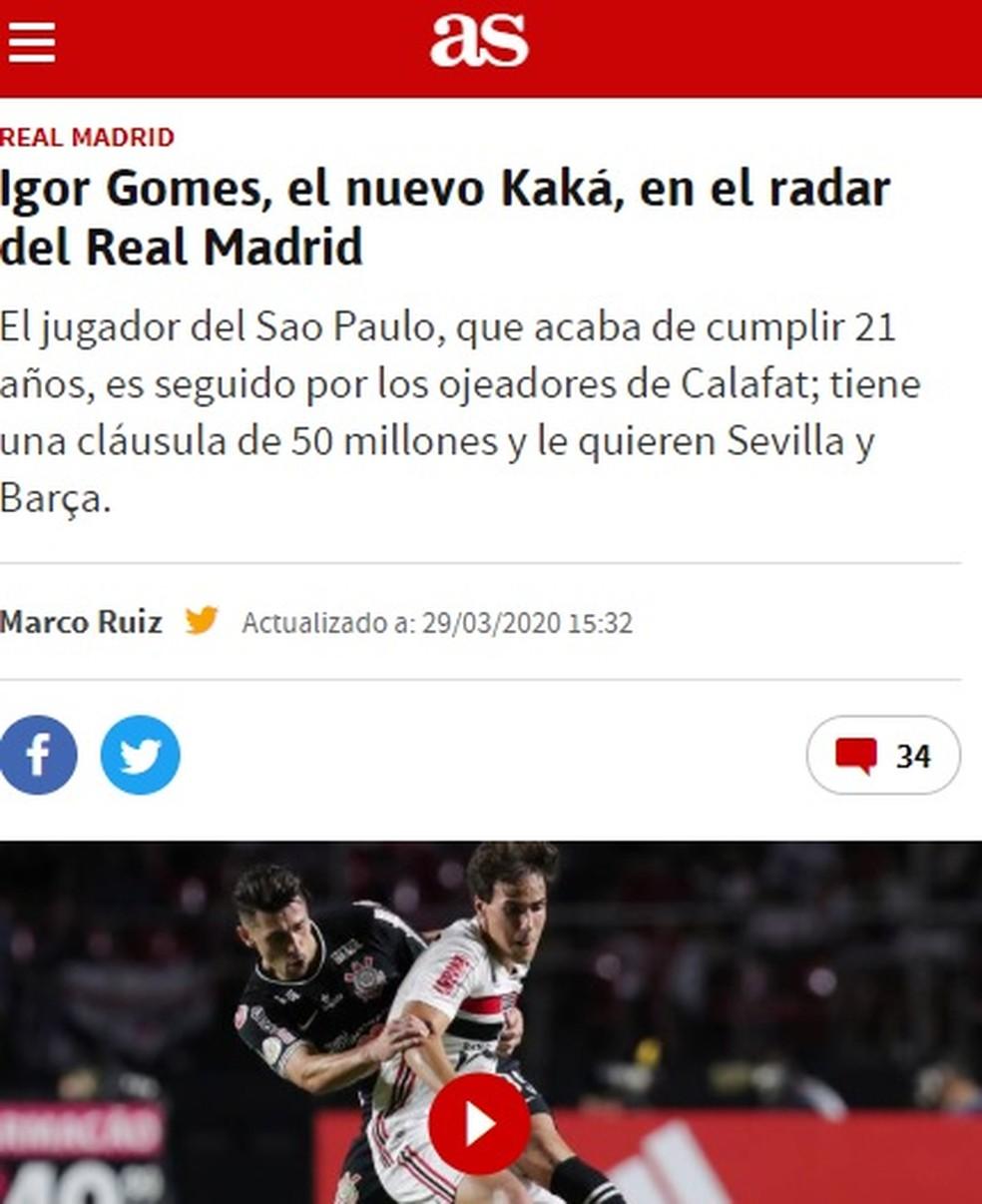 """Igor Gomes, do São Paulo, é chamado de """"novo Kaká"""" por jornal espanhol — Foto: reprodução"""