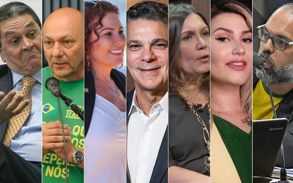 Fotos de 7 alvos da operação da PF no inquérito das fake news — Foto: Estadão Conteúdo; Divulgação; Reprodução