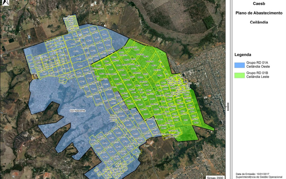 Mapa mostra divisão de Ceilândia, no DF, para o regime de racionamento de água (Foto: Caesb/Divulgação)