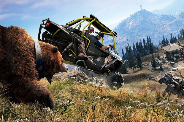 Um Polaris e um urso: o tipo de mistura que só Far Cry dá a você (Foto: Divulgação)