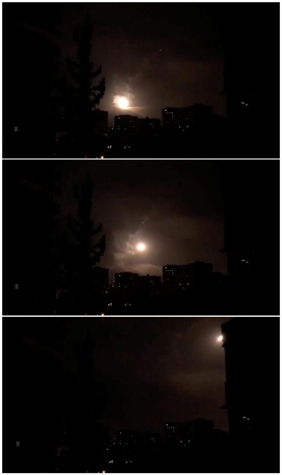 Montagem mostra ação do sistema de defesa sírio contra os mísseis lançados por EUA, França e Reino Unido (Foto: TV Síria/via Reuters)