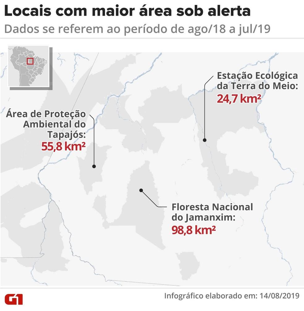 Locais da Amazônia com maior área sob alerta de desmatamento — Foto: Rodrigo Sanchez/Infografia/G1