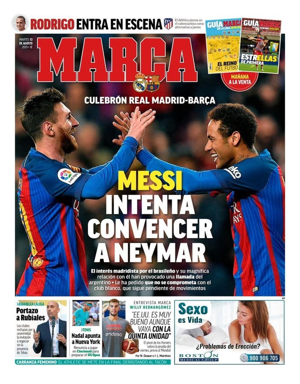 """""""Messi tenta convencer Neymar"""", diz o """"Marca"""" — Foto: Reprodução/Marca"""