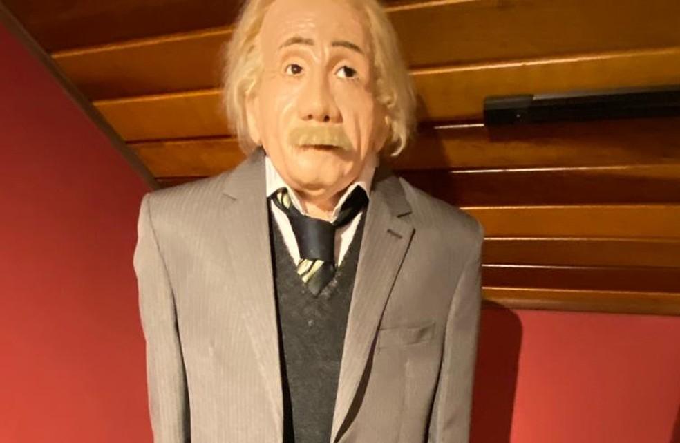 Empresário diz que estátua de cera de Albert Einstein é uma das suas preferidas — Foto: Arlindo Armacollo/Arquivo pessoal