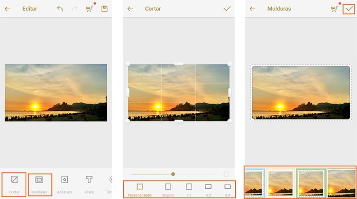 Cortar e aplicar bordas nas fotos (Foto: Reprodução/Barbara Mannara)