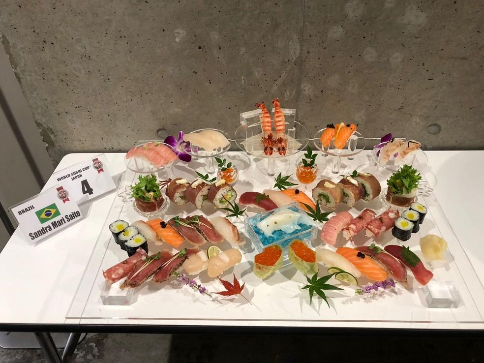 Sushis feitos por Sandra Mari Saito na categoria Free Style — Foto: Arquivo Pessoal/Sandra Mari Saito