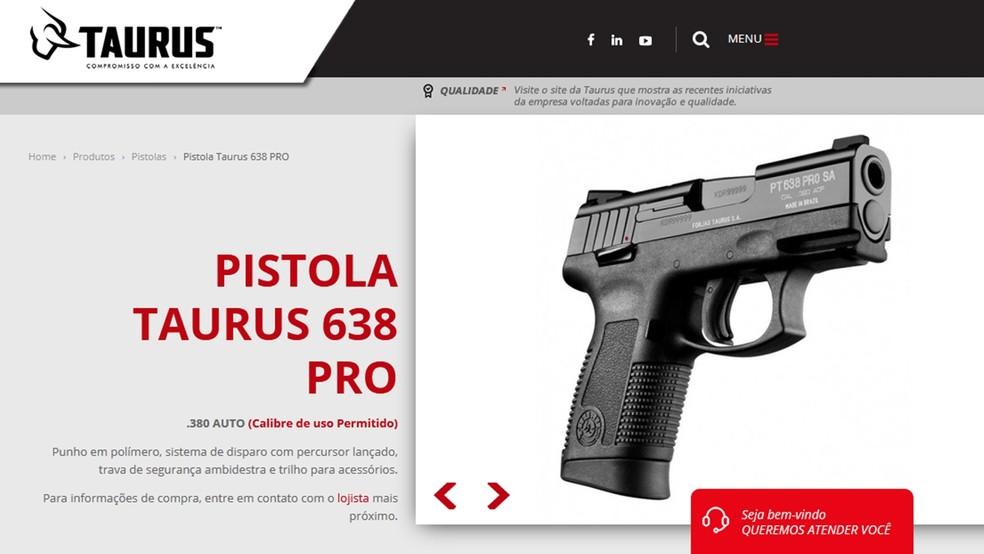Pistola 638 produzida pela Taurus era da propriedade pessoal do sargento (Foto: Reprodução/taurusarmas.com.br)