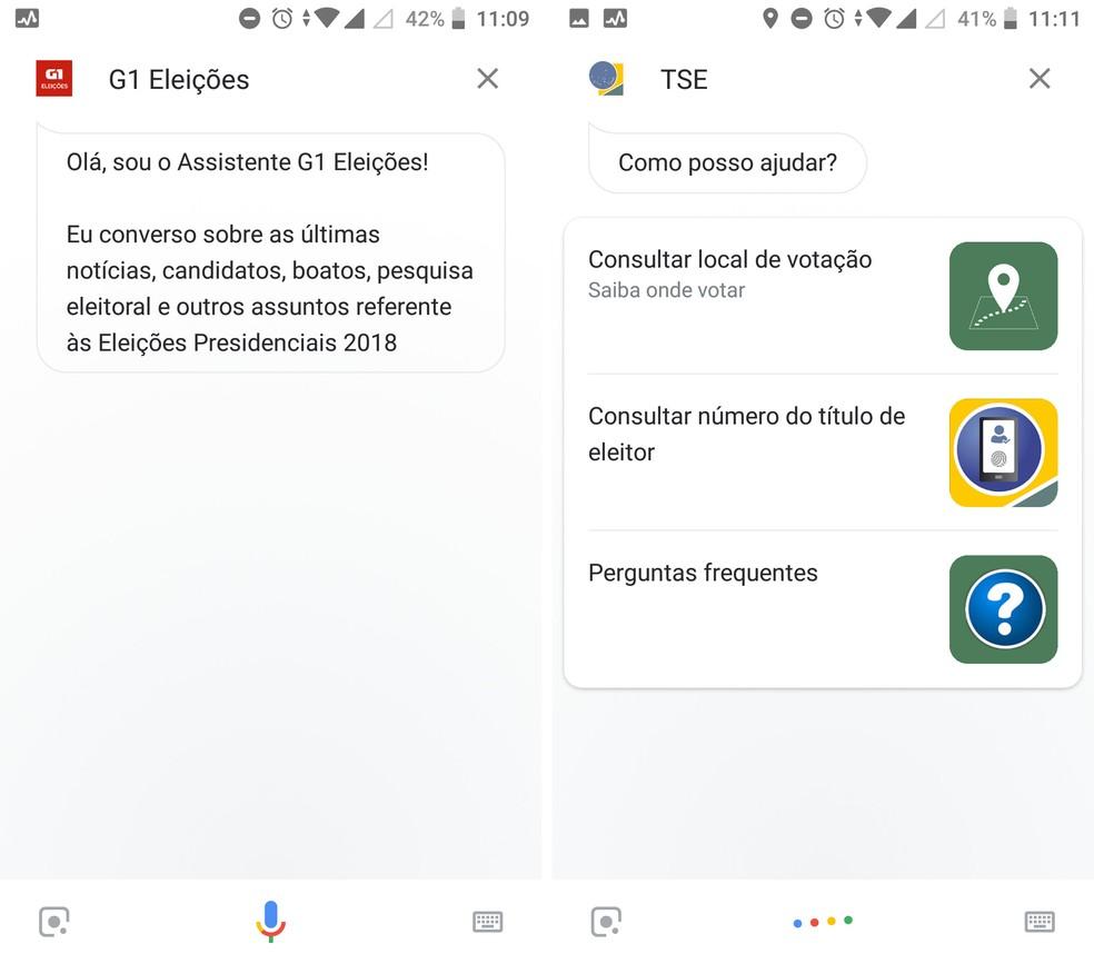 Confira informações sobre as eleições no G1 Eleições ou TSE com a Google Assistente — Foto: Reprodução/Isabela Cabral