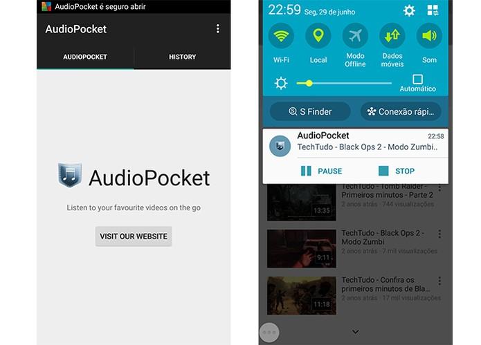 AudioPocket permite ouvir músicas em qualquer tela do Android (Foto: Reprodução/Barbara Mannara)
