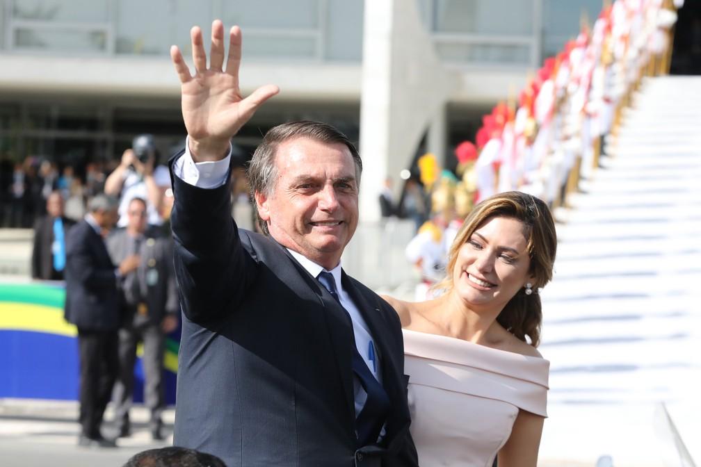 Bolsonaro chega ao Planalto para receber a faixa presidencial  — Foto: Fábio Tito/G1