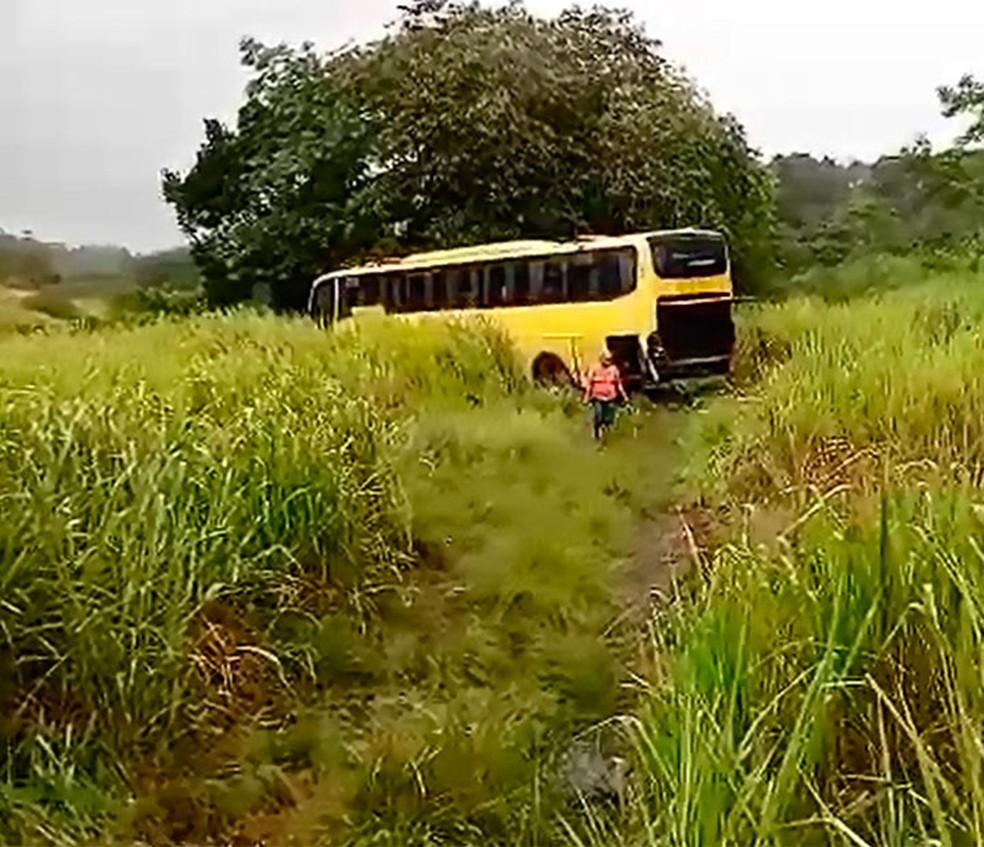 Ônibus saiu da pista e foi parar em matagal após colisão na Bahia (Foto: Reprodução/TV Santa Cruz)