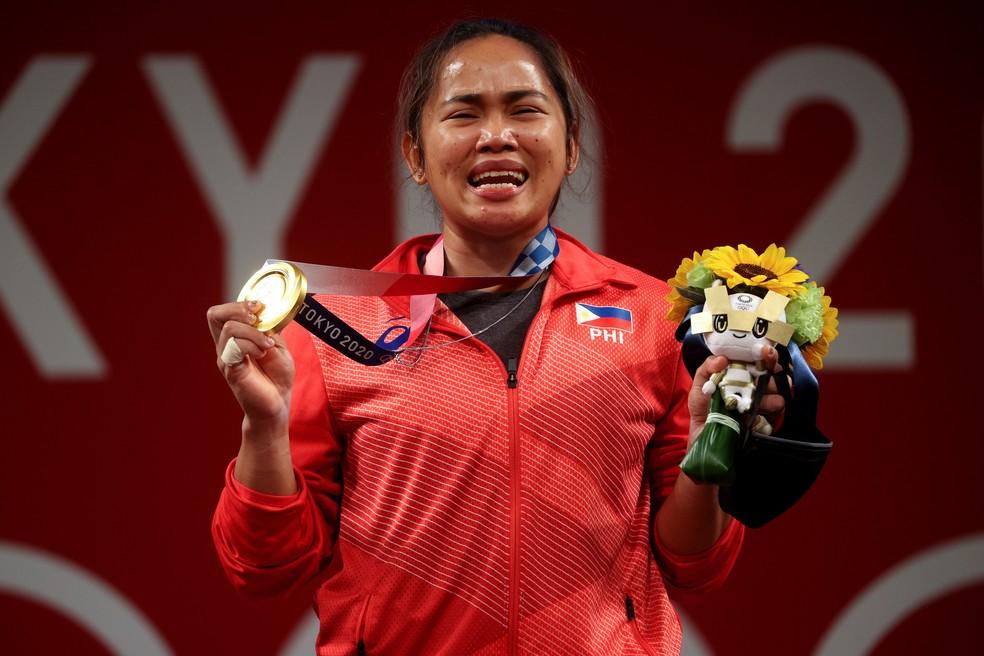Hidilyn Diaz, de Filipinas, ouro no levantamento de peso feminino — Foto: Chris Graythen/Getty Images