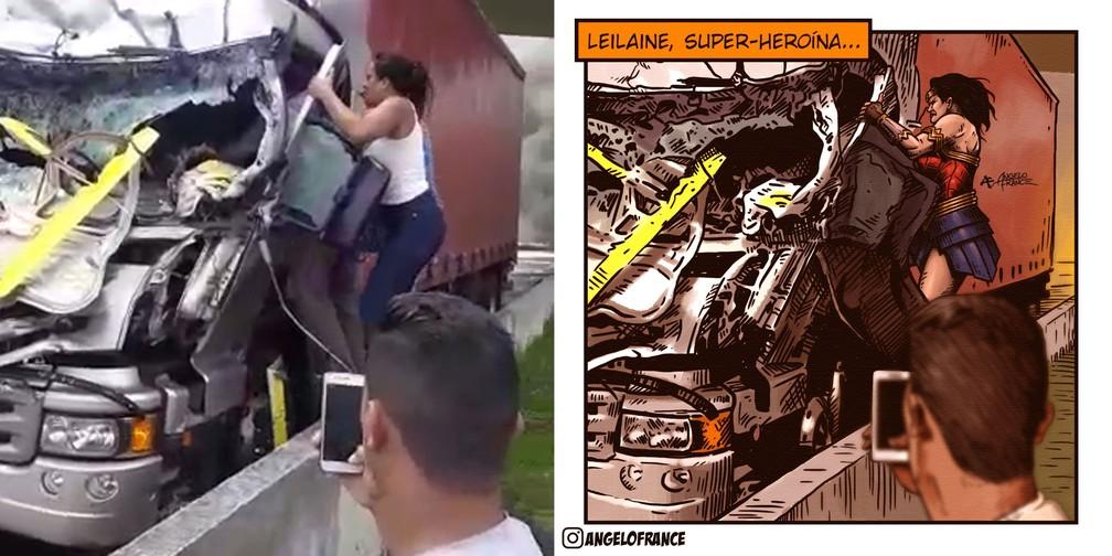 Ilustrador Angelo France fez desenho em HQ para homenagear Leiliane Rafaela, que ajudou a socorrer motorista de caminhão após acidente com helicóptero de Boechat — Foto: Reprodução/Redes sociais e Divulgação/Angelo France