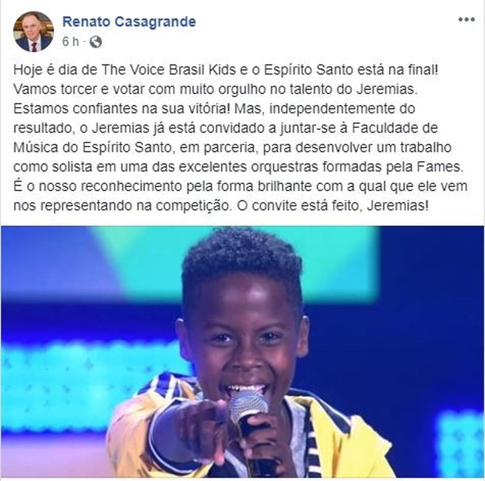 Governador Renato Casagrande convidou Jeremias a fazer parte da Fames — Foto: Reprodução/ Facebook