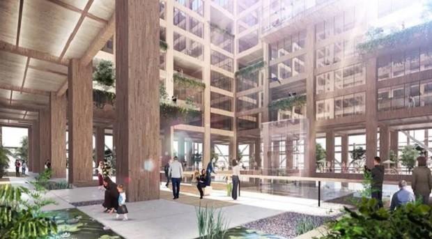 Interior do prédio de madeira que a Sumitomo Forestry quer construir em Tóquio (Foto: Divulgação Sumitomo Forestry)
